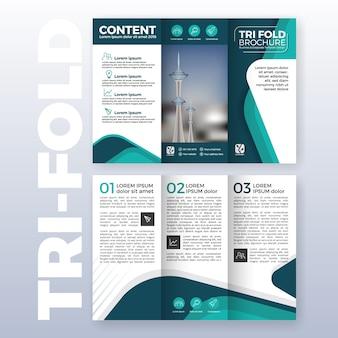 Business tri-fold brochure sjabloon ontwerp met turkoois kleurenschema in a4 formaat met bloeden