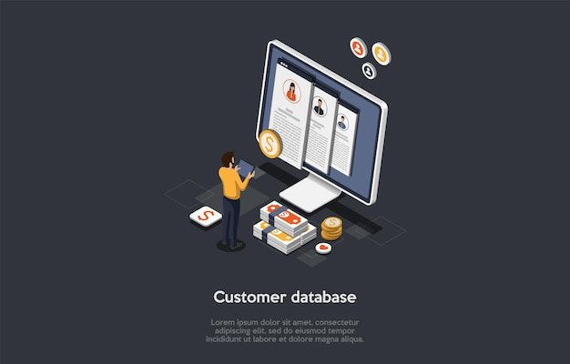 Business, verkoop, klanten database concept. mannelijke karakter staat voor enorme scherm en stapel dollars zoeken naar informatie in klantendatabase. kleurrijke 3d isometrische vectorillustratie.