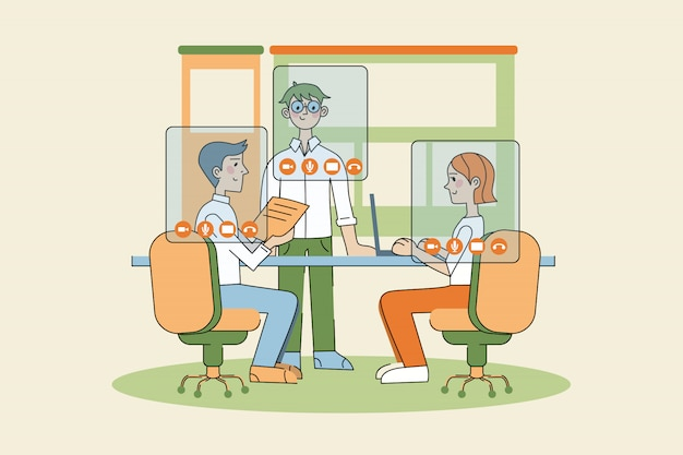 Business, video, conferentie, werk, sociale afstand, quarantaine, coronavirus concept