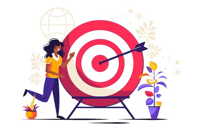 Business vision, groot doelwit met vrouw, teamwork