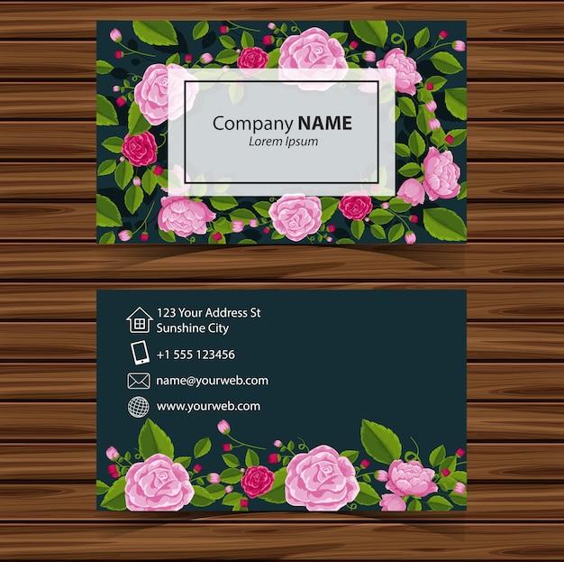 Businesscard sjabloon met roze rozen op groene achtergrond