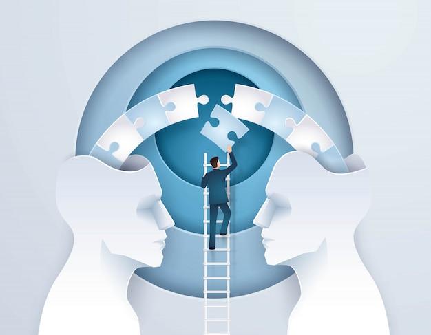 Businessconcept idee van brainstormen via twee hoofden is beter dan één