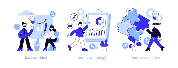 Businessplan abstract concept illustratie set