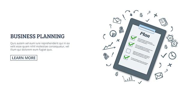 Businessplan horizontale achtergrond, beeldverhaalstijl