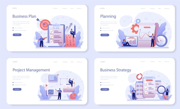 Businessplan webbanner of bestemmingspagina-set