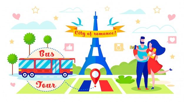 Busreis naar romantische stad vectorillustratie.