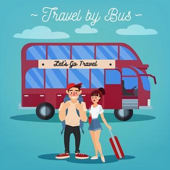 Busreizen. toerismeindustrie. actieve mensen. meisje met bagage. bustocht. man met bagage. gelukkig stel