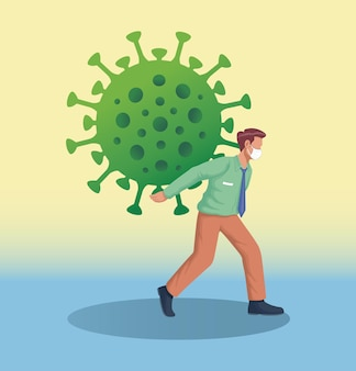 Bussinesmanarbeider die een reusachtig coronavirus op zijn rug draagt vectorillustratie