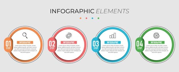 Bussiness infographic cirkel ontwerp presentatiesjabloon met 4 opties Premium Vector