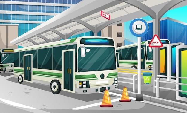 Busstation in de moderne stad
