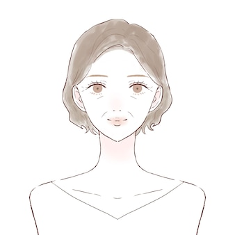 Bust-up voorkant van een vrouw van middelbare leeftijd. huidverzorging afbeelding. op een witte achtergrond.