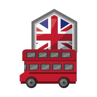 Busvervoer met embleem van vlag groot-brittannië