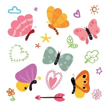 Butterflies illustratiesinzameling