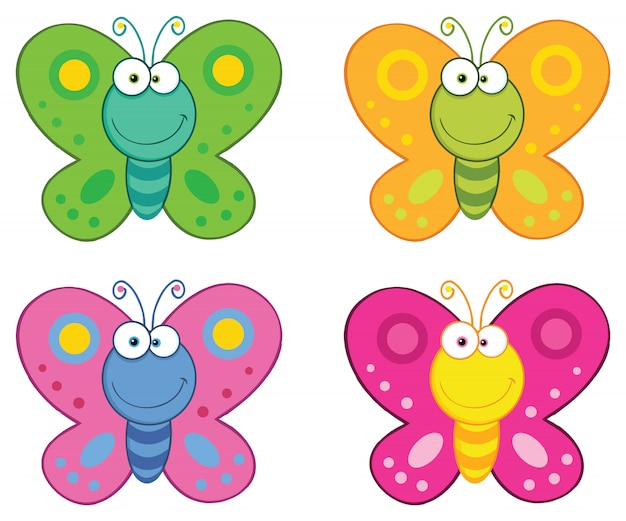 Butterfly cartoon mascotte tekenset.