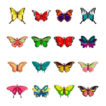 Butterfly collection icons set