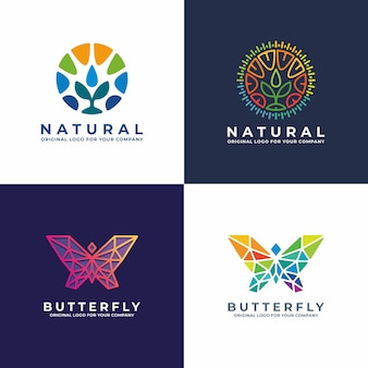 Butterfly, plant, community logo design collectie. Premium Vector