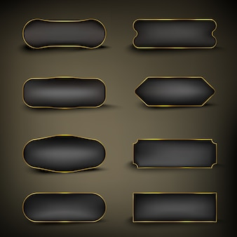 Button set kleur goud en zwart vorm
