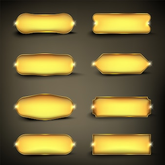 Button set kleur goud vorm