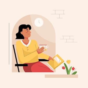 Buurvrouw in raamconcept vrouw zittend op stoel leesboek