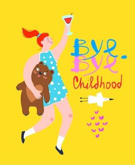 Bye jeugdmeisjes drinken partij evenement flyer met vrouw met teddybeer drinken wijn vieren.