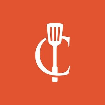C brief spatel keuken restaurant chef-kok logo vector pictogram illustratie
