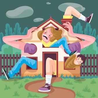 C = illustratie van jonge vrouw die cabinekoorts heeft Gratis Vector