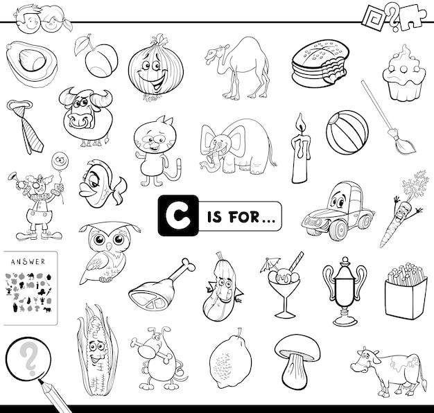C is voor educatief spel kleurboek