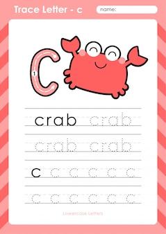 C krab: alfabet az tracing letters werkblad - oefeningen voor kinderen