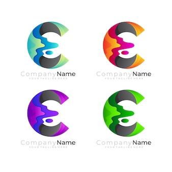 C-logo en 3d-kleurrijke ontwerpsjabloon, letter c-pictogram instellen