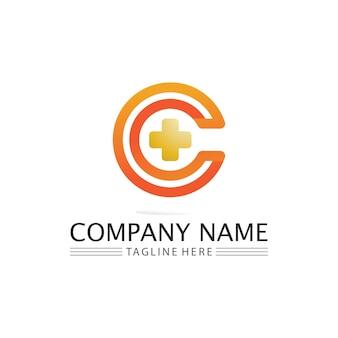 C-logo voor vitamine en lettertype c-brief identiteits- en ontwerpbedrijf