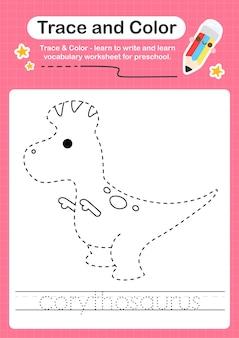 C overtrekwoord voor dinosaurussen en kleurwerkblad met het woord corythosaurus