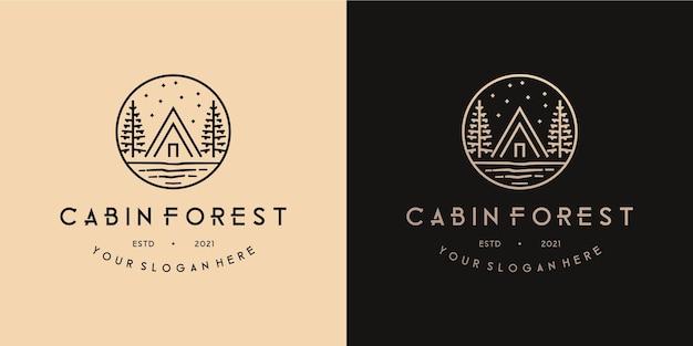 Cabin forest natuur camping in de jungle monoline logo ontwerp