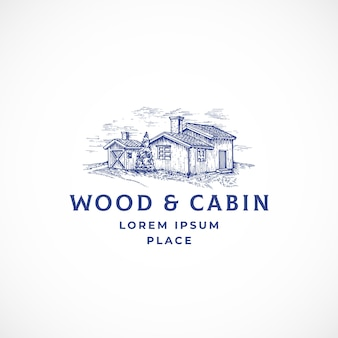 Cabin in the woods abstract teken, symbool of logo