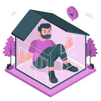 Cabin koorts concept illustratie
