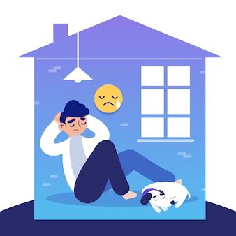 Cabin koorts illustratie met huis