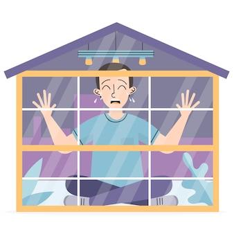 Cabin koorts illustratie met man