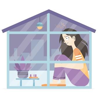 Cabin koorts illustratie met vrouw