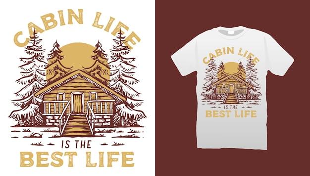 Cabine illustratie t-shirt ontwerp