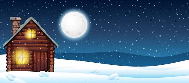 Cabine in de sneeuw