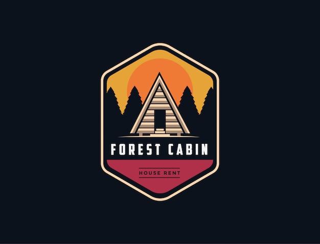 Cabine in het bos logo sjabloon