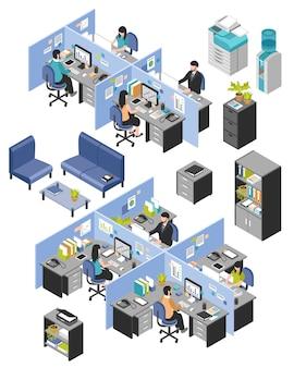 Cabine kantoorwerkplekken ingesteld