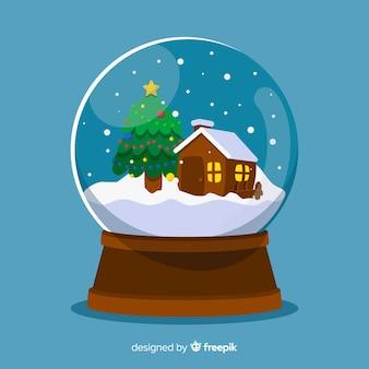 Cabine kerst sneeuwbal illustratie
