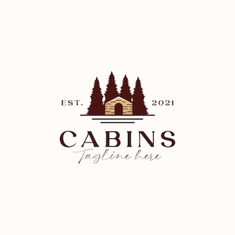 Cabine vintage concept logo sjabloon geïsoleerd op witte achtergrond