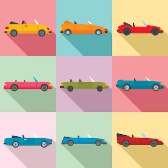 Cabriolet iconen set, vlakke stijl