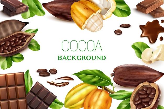 Cacao achtergrondkader met realistische afbeeldingen van verschillende soorten chocolade