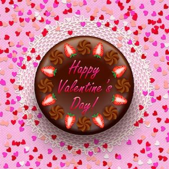 Cacao en chocolade valentijnstaart versierd met aardbeien en confetti