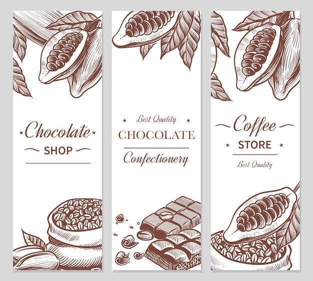 Cacao en chocoladebanners. schets cacao- en koffiezaden, chocoladerepen en snoepjes. handgetekende snoepjes, coffeeshop schoonheidslabels voor het brandmerken van choco natural flyers