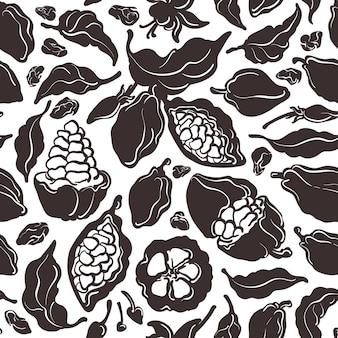 Cacao naadloze patroon. vorm hand getrokken illustratie. zoete natuurlijke drank
