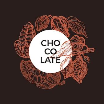 Cacao-ontwerp. grafisch symbool. hand getekende tropische kaart