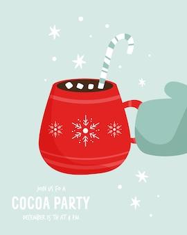 Cacao party uitnodiging sjabloon met decoratieve beker. wintertijd. vector illustratie